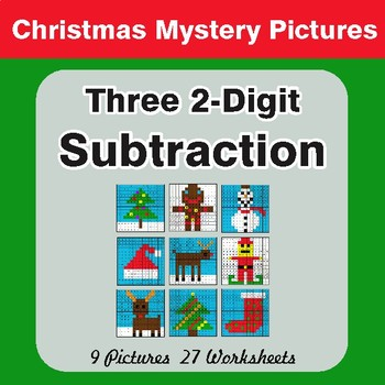 Christmas Math: Three 2-Digit Subtraction - Color-By-Number Math Mystery Pictures
