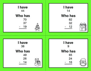 Christmas Math: Three 2-Digit Subtraction - I Have, Who Has