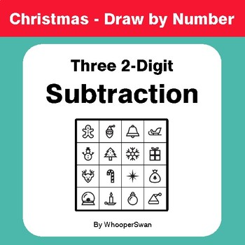 Christmas Math: Three 2-Digit Subtraction - Math & Art - Draw by Number