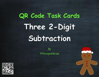Christmas Math: Three 2-Digit Subtraction QR Code Task Cards