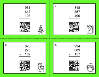 Christmas Math: Three 3-Digit Subtraction QR Code Task Cards