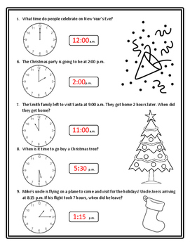 Christmas Math Time Christmas Telling Time Math Christmas Math 2nd Time