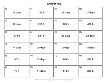 Christmas Math: Time Conversion: Days & Hours QR Code Task Cards