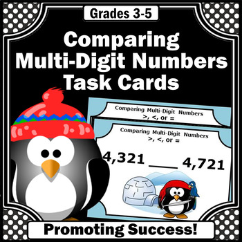 Comparing Numbers Task Cards, 4th Grade Math Review, Penguins Theme