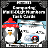 Comparing Numbers Task Cards, 4th Grade Winter Math Activities, Penguins Theme
