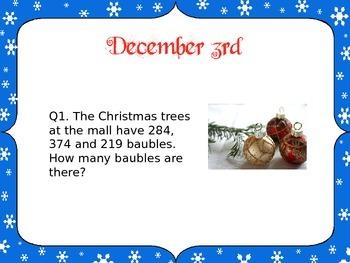 Christmas Math Activities Word Problem Advent Calendar (EDITABLE) 4th