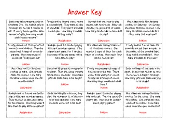 Christmas Math Word Problem Sort and Worksheets