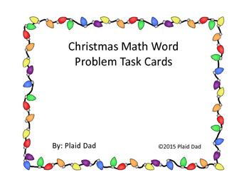 Christmas Math Word Problem Task Cards