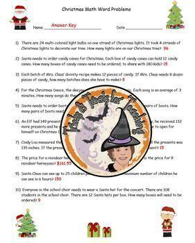 Christmas Math Word Problems with Answer KEY Happy Holiday Santa Claus