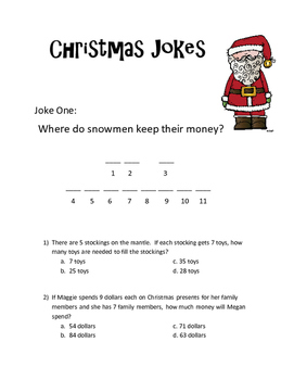 Christmas Math Word Problems (Simple Mult and Division)