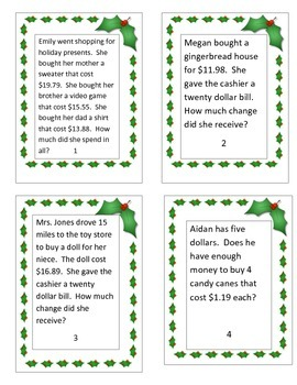 Christmas Math Word Problems Task Cards (Adding and Subtracting Money Amounts)