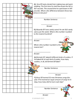 Christmas Math Word Problems With The Crazy Elves:3rd-4th Common Core Aligned