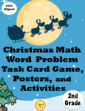 Christmas Math Word Problem Task Card Game and Puzzles for 2nd Grade
