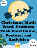 Christmas Math Word Problem Task Card Game and Activities for 3rd Grade