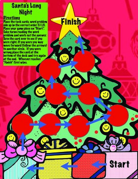 Christmas Math Word Problem Task Card Game and Activities for 4th Grade: