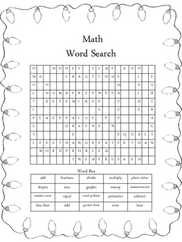 Christmas Math Word Search
