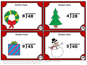 Christmas Math Activities Division Facts Task Cards 3rd Grade Math Centers SCOOT