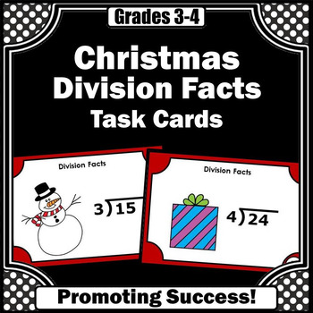 Division Facts Task Cards for 3rd Grade Christmas Math Center Games & Activities