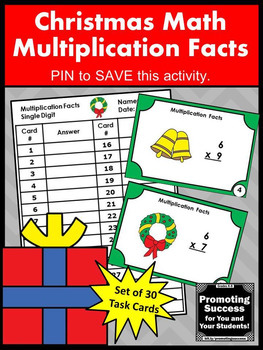 Christmas Math Activities Multiplication Facts Task Cards 3rd Grade Math Centers