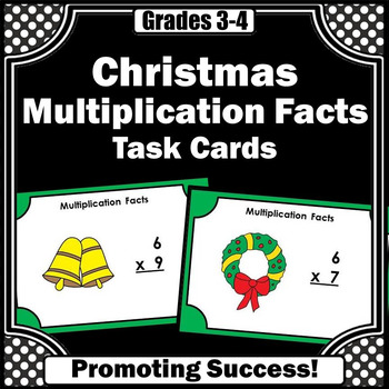 Christmas Math Activities Multiplication Facts Task Cards