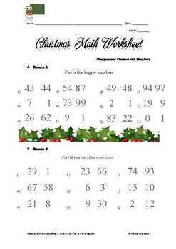 Christmas Math Worksheet Basic Operation Compare and Contrast