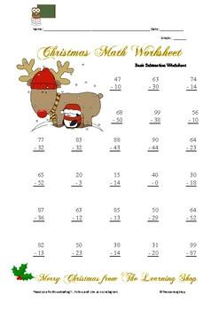 Christmas Math Worksheet Basic Subtraction Operations III