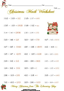 Christmas Math Worksheet: Mixed Numbers