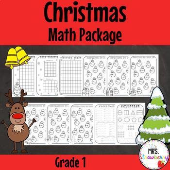 Christmas Math Worksheet Package - Grade 1