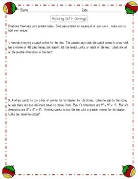 Christmas Math Worksheet Set: Volume of Rectangular Prisms