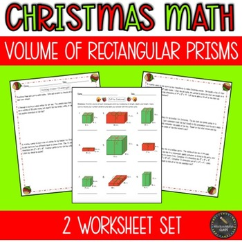 Christmas Math Worksheet Set: Volume of Rectangular Prisms