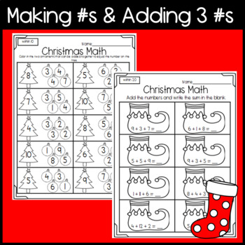Christmas Math Worksheets: Addition, Subtraction, Counting, Before and After, +