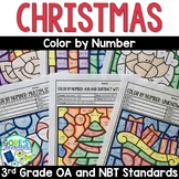 Christmas Math Worksheets Color by Number 3rd Grade