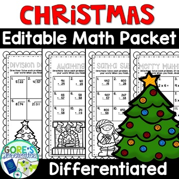 Math Worksheets for Christmas and December - Differentiated and Editable