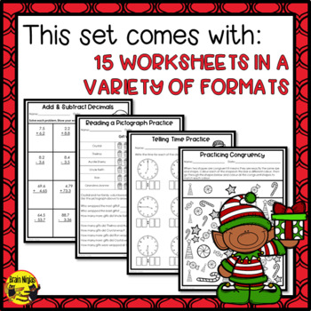 Christmas Math Worksheets Grade 4 by Brain Ninjas | TpT