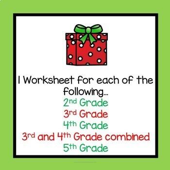 Christmas Math Worksheets Multiplication 3rd Grade 4th Grade Common Core