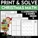 Christmas Math Worksheets Print and Solve Gr. 4