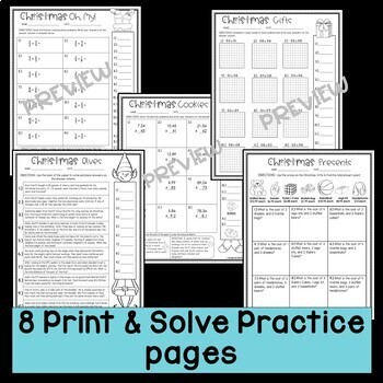 Christmas Math Worksheets Print and Solve Gr. 5