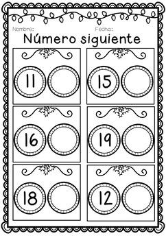 Christmas Math Worksheets en español