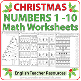 Christmas Math Worksheets in English - Numbers 1 to 10