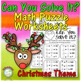 Christmas Math Worksheets with Critical Thinking Algebra Puzzles