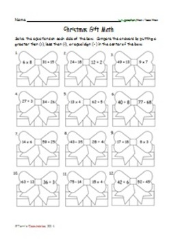 Christmas Math - addition, subtraction, multiplying, fractions, graphs, and more