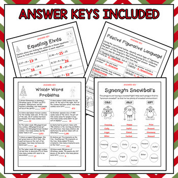 Christmas Math and ELA Bundle (No-Prep Worksheets)