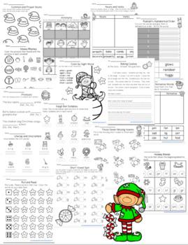 Christmas Math and ELA Worksheets First Grade
