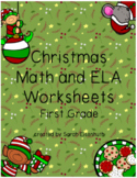 Christmas Math and ELA Worksheets First Grade