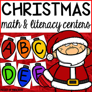 Christmas Math and Literacy Centers for Preschool, Pre-K, and Kindergart