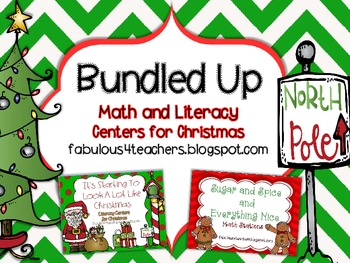Christmas Math and Literacy Stations Bundled Up