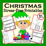 Christmas NO PREP Printables - First Grade Common Core Math and Literacy