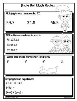 Christmas NO PREP Printables - Sixth Grade Common Core Math and Literacy