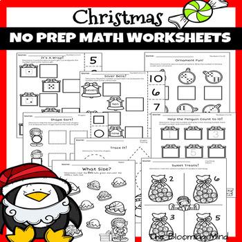 Christmas Math and Literacy Worksheets Bundle