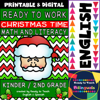 Christmas - Math and Literacy - Worksheets, Flashcards, po